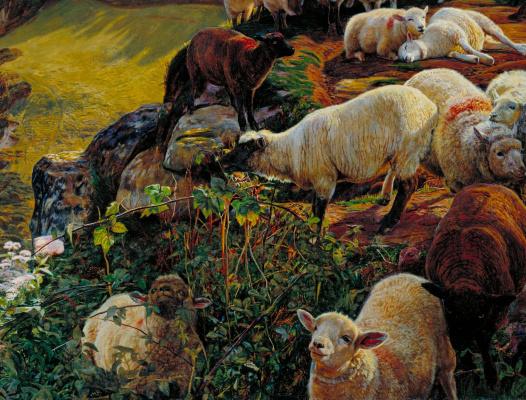 William Holman Hunt. A flock of sheep on the English coast. Fragment