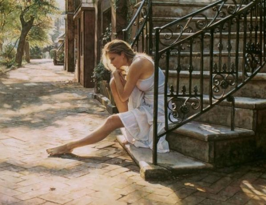 Steve Hanks. Sitting on the stairs