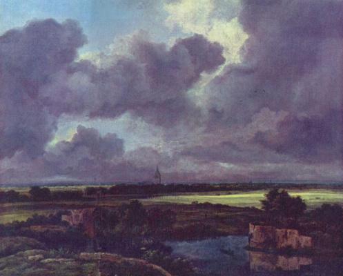 Якоб Исаакс ван Рейсдал. Пейзаж с крепостными руинами и церковью