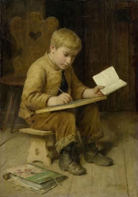 Альберт Анкер. Пишущий мальчик