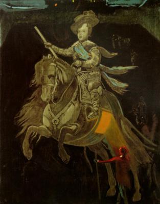 Конный портрет Принца Бальтазара Карлоса, по Веласкесу, с фигурами. Внутренний двор Эскориал