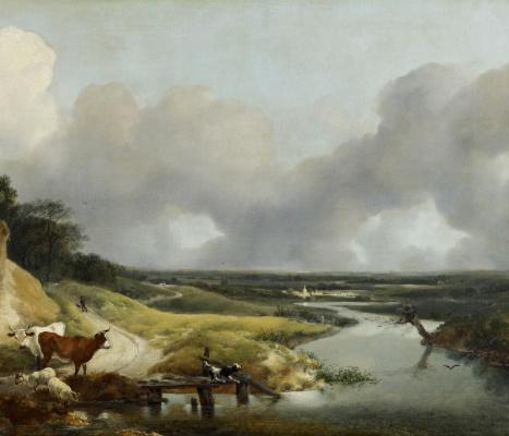 Томас Гейнсборо. Пейзаж близ деревни Корнард. Фрагмент