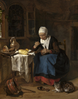 Габриель Метсю. Пожилая женщина ест кашу