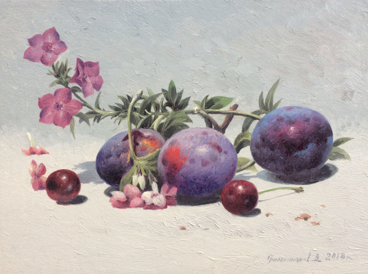 Vasily Ivanovich Gribennikov. Still life with plums