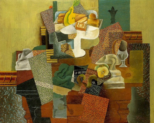 Pablo Picasso. Still life with fruit on a table