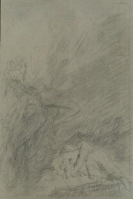 Николай Николаевич Ге. Женщина с двумя детьми и падающий ангел. Эскиз иллюстрации к рассказу «Чем люди живы»