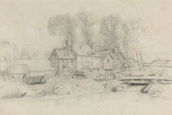 Eugene Boudin. River landscape with buildings , boats, and silhouettes