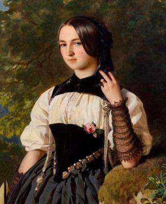 Franz Xaver Winterhalter. Portrait of a Swiss girl from Interlaken. Fragment