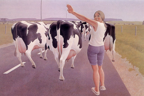 Alex Colville. Stop for cows