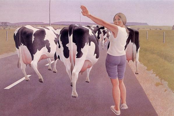 Alex Colville. Stop for cows