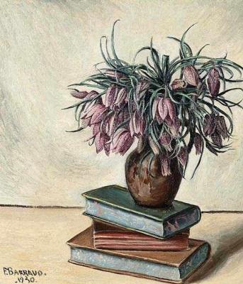 Франсуа-Эмиль Барро. Натюрморт с цветами и книгой