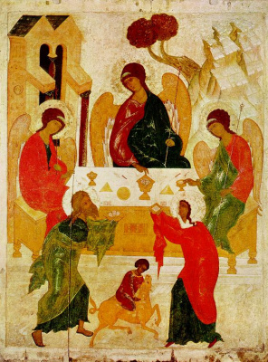 Icon Painting. The old Testament Trinity