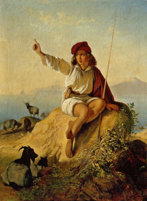 Timofey Andreevich Neff. A Neapolitan shepherd boy on the beach, illuminated by the rising sun