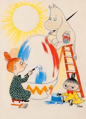 Tove Jansson. Easter egg. Mimi characters
