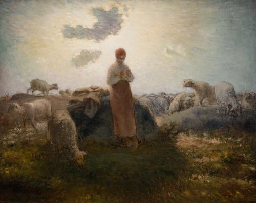 Jean-François Millet. Peasant woman herding herd
