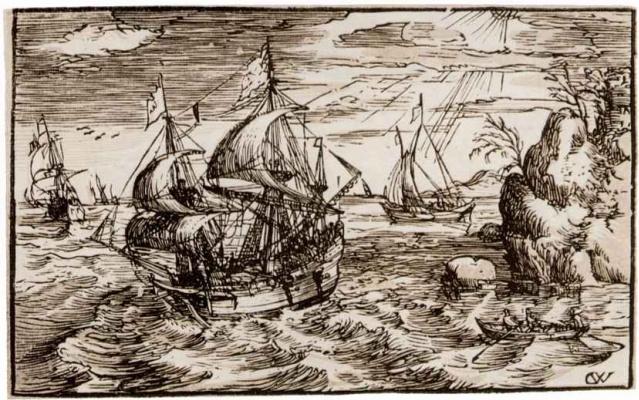 Хендрик Гольциус. Морской пейзаж с тремя парусниками