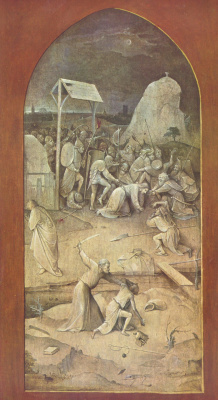 "Hieronymus Bosch. The taking of Christ into custody. Triptych ""The Temptation Of St. Anthony"". Left outer fold"