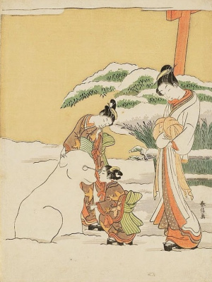 Suzuki Harunobu. Courtesan watching kamuro make a snow dog