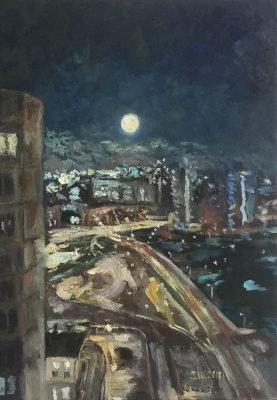 "Sophia Vinogradova. Painting ""Lunar path"" (oil on canvas moon sky night city light Moscow lanterns road houses)"
