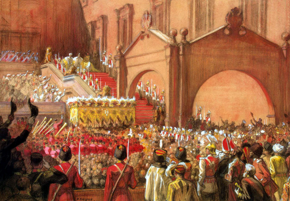 Albert Gustav Aristide Edelfelt. The release of Emperor Nicholas II after his coronation on the Red porch