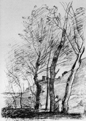 Camille Corot. Reading under the trees