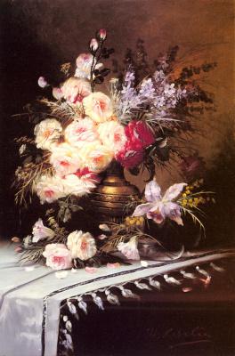 Модест Карлье. Натюрморт с бюкетом цветов в латунной вазой