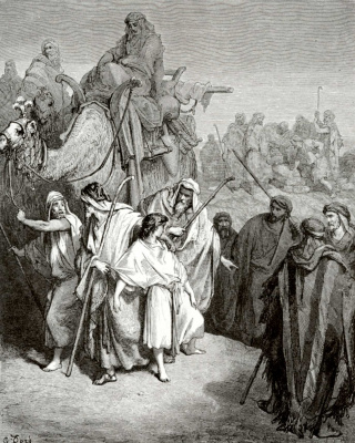 Paul Gustave Dore. Illustration to the Bible: the brothers sell Joseph