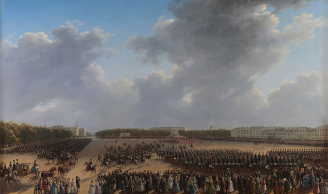 Nikanor Grigorievich Chernetsov. Parade and service to mark the end of hostilities in the Kingdom of Poland on 6 October 1831 on the Tsaritsyn meadow in St. Petersburg. 1837