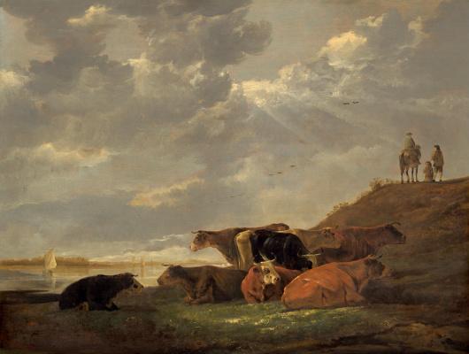 Albert Köyp. River Landscape with Cows