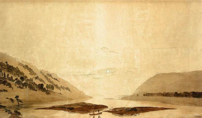 Caspar David Friedrich. Landscape with a mountain river