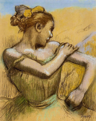 Edgar Degas. Ballerina tying the bow on the shoulder