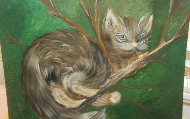 Юлия Пушкова. Котенок на дереве