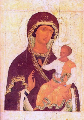 Icon Painting. The virgin with the baby