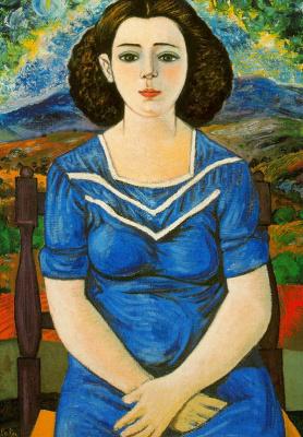 Рафаэль Сабалета. Портрет сидящей брюнетки