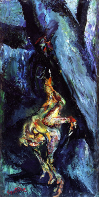 Chaim Soutine. Chicken on blue background