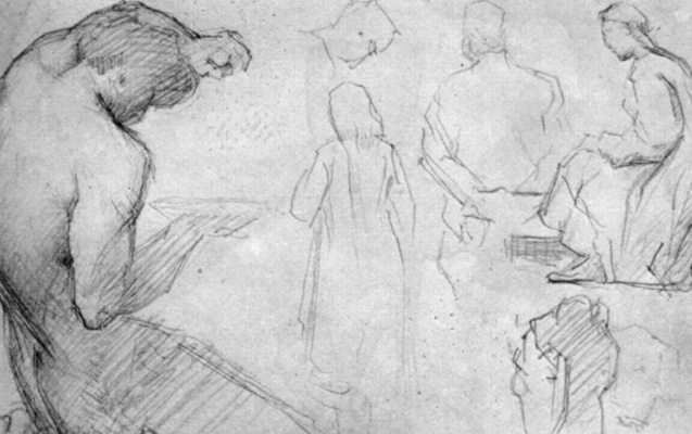 Georges Seurat. Sheet of sketches with the figure pressing the grapes satire and other figures