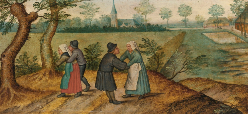 Peter Brueghel the Younger. Scenes from the life of the peasants. Two couples