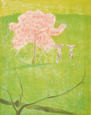 Цветущая яблоня на зеленом лугу