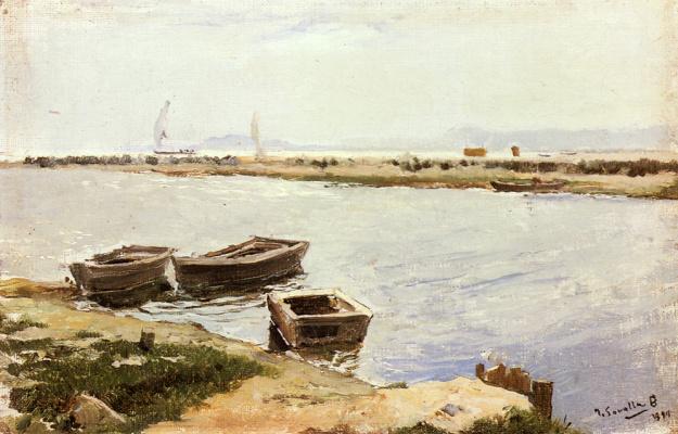 Хоакин Соролья (Соройя). Три лодки у берега