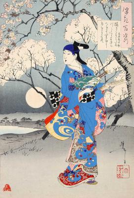 """Цукиока Ёситоси. Поэма Мицуки Тацуносуке. В вишневом саду. Серия """"100 видов луны"""""""