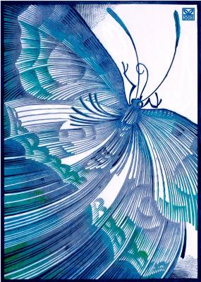 "Vladimir Kataev. ""Butterfly silvery blue"", linocut, 65Х47 , 2012"