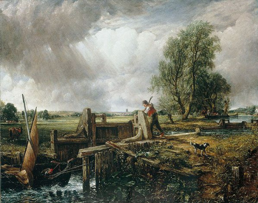 John Constable. Boat passing the dam