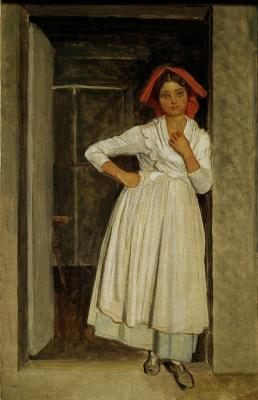 Александр Андреевич Иванов. Девочка-альбанка в дверях. Начало 1830-х