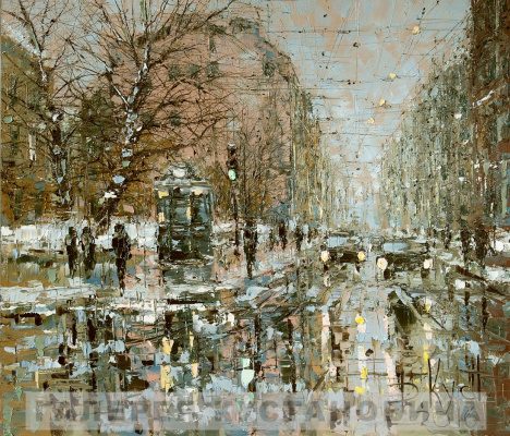 Dmitry Alexandrovich Kustanovich. Winter day on the streets of St. Petersburg