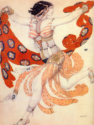"Lev Samoilovich Bakst (Leon Bakst). Costume of Cleopatra for IDA Rubinstein for the ballet ""Cleopatra"" to music by A. S. Arensky"
