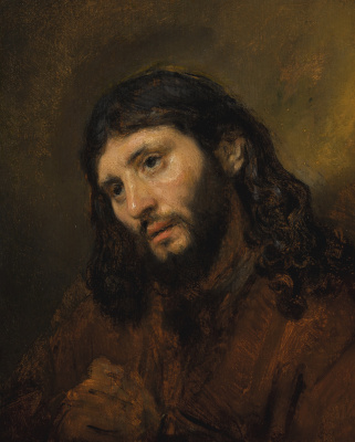 Rembrandt Harmenszoon van Rijn. Study of the Head and Clasped Hands of a Young Man as Christ in Prayer