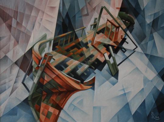 Vasily Krotkov. Old schooner. Kubofuturizm