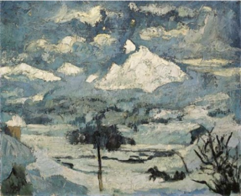 Giovanni Giacometti. Winter landscape in the moonlight