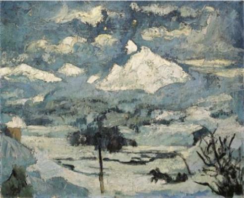 Giovanni Giacometti. Winter landscape in the moonlight