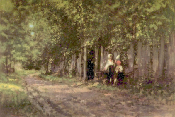 Nicolae Grigorescu. Girls in front of the gate